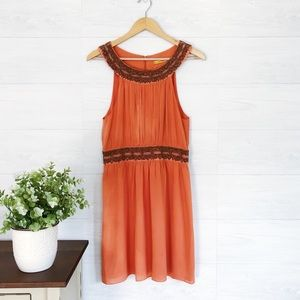 Alice + Olivia Orange Beaded Formal Silk Dress